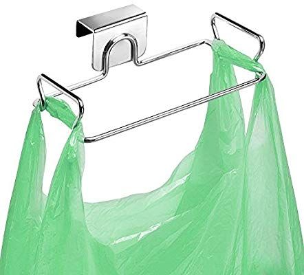 Amazon Com Large Stainless Steel Trash Bag Holder For Kitchen Cabinets Doors And Cupboards Stainless Steel Home I Trash Bag Kitchen Cabinet Doors Bag Holder
