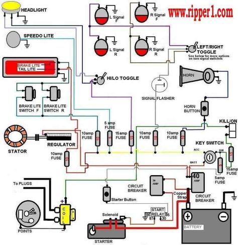 wiring diagram with accessory and ignition \u2026 cool ideas cafe racer build, motorcycle wiring