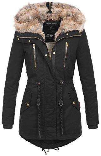 Navahoo warme Damen Winter Jacke lang Teddyfell Winterjacke