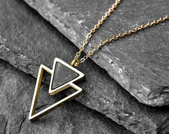 14k Gold Filled Chain And Triangle Necklace For Men Gold Etsy In 2020 Mens Silver Necklace Mens Jewelry Evil Eye Necklace Gold