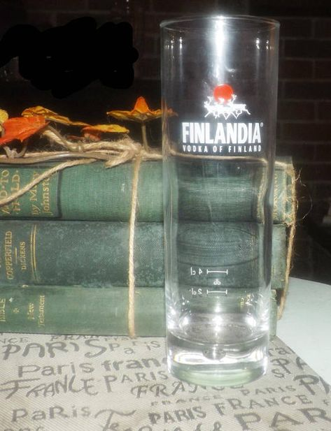 Vintage (mid 1990s) Finlandia Vodka water glass | small tumbler. Etched-glass logo, wording, weighted base. Commercial quality