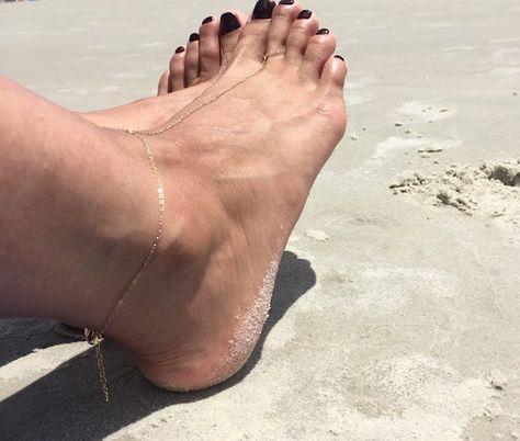 Foot Slave Anklet Bare Foot Sandals Gold Bare Sandals Slave ankle bracelet Gold Slave anklet Sterlin