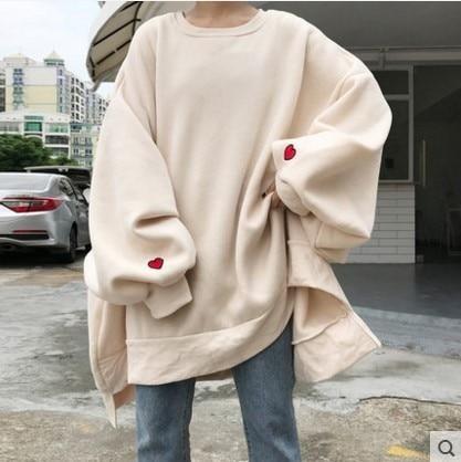 Fashion Harajuku Embroidery Oversize Hooded Sweatshirt Loose Long Sleeve Hoodies
