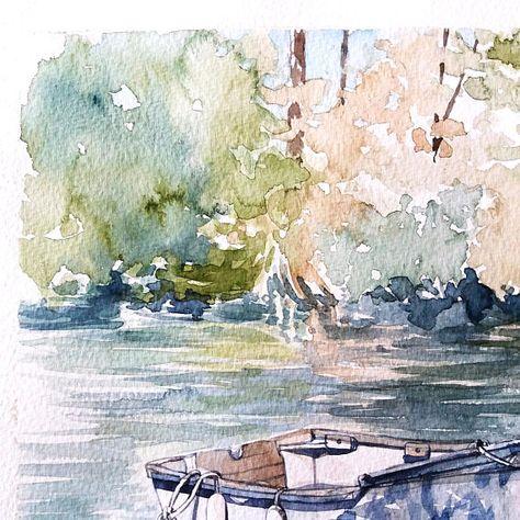 Bords De Lerdre A Nantes Ile De Versailles Aquarelle Originale