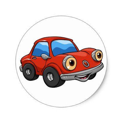 Funny Cartoon Cars Red Car Cartoon Classic Round Sticker