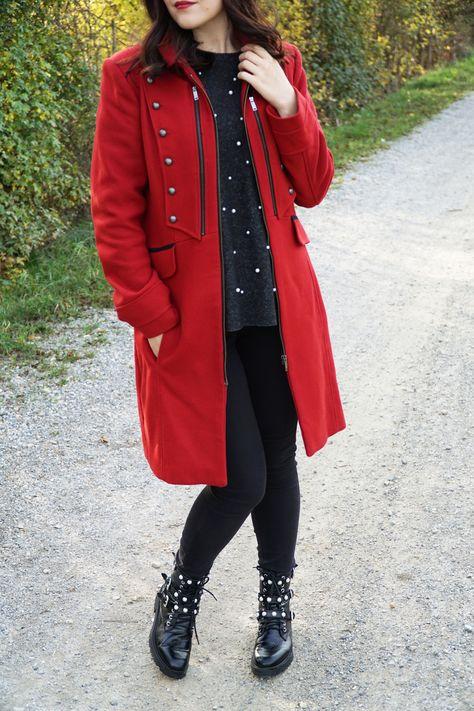 Suche nach Beamten Sonderkauf dauerhafte Modellierung Herbstlook: roter Mantel im Military Style (Promod), Boots ...