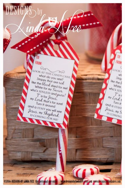 Legend of the Candy Cane - Printable gift tags with poem that you can give away as gifts. They are also perfect for witnessing at Christmas time! They also make great party favors! ____________ Please see my additional printables including gift tags, Hershey Bar wrappers, mini