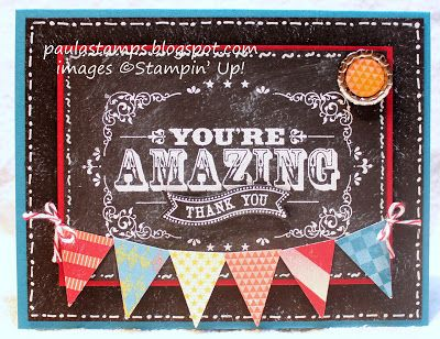 """Colors: Island Indigo, Basic Black, Cherry Cobbler, Calypso Coral and Daffodil Delight. Stamps: You're Amazing and Itty Bitty Banners.  Big Shot: Bitty Banner Framelits Collection. Punches: Petite Pennant Builder, 1/2"""" circle punch.  Accessories: World Spectacular Designer Series Paper, Soda Pop Tops, Cherry Cobbler Baker's Twine, White Embossing Powder, Crystal Effects, White Gel Pen."""