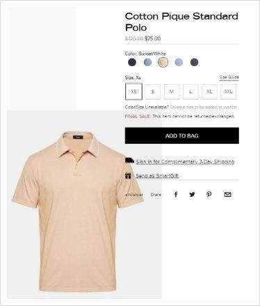 띠어리 코튼 피케 스탠다드 폴로 맨 티셔츠 75불 폴로 티셔츠 반팔