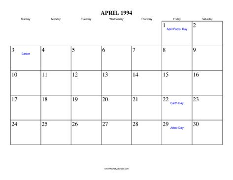Free Printable Calendar For April 1994 View Online Or Print In