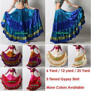 Satin Ruffle Skirt Belly Dance Jupe Oriental 12 Yd Gypsy Flamenco Frill Tiered
