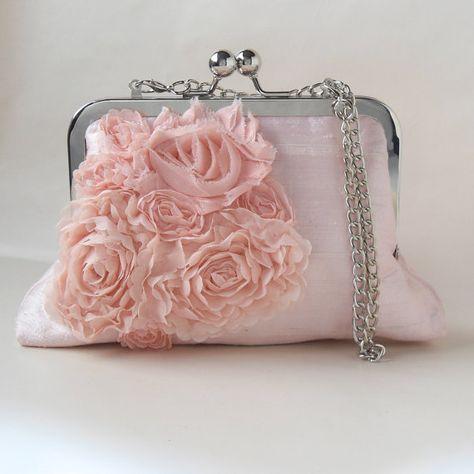 Pretty and Pink silk bag, includes a chain handle - by PaperFlora