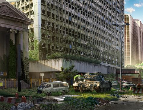A MattePainting of São Paulo - Brazil The idea was to make a apocalyptic scenario, where several years have passed and nature is beginning to reclaim the place. Cliche, but very useful for practice. A bit of the process. I took a photo of Paulista Avenue,