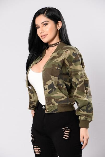 Available in Camo Bomber Jacket Front Zipper Closure Side Slit Pockets Distressed Cotton
