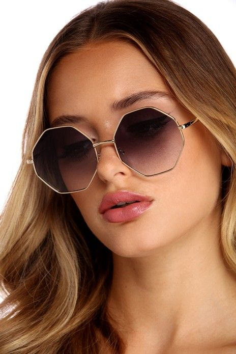 Octagon Shaped Sunglasses Womens Fashion Double Metal Frame Mirror Lens