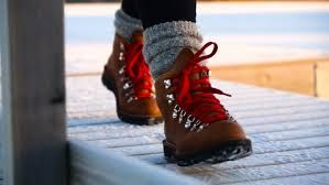 leather hiking boots with red laces