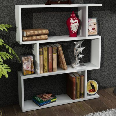 Zipcode Design Lindsay 38 Accent Shelves Bookcase Finish White Minimalist Bookcase Contemporary Bookcase Area Rug Decor