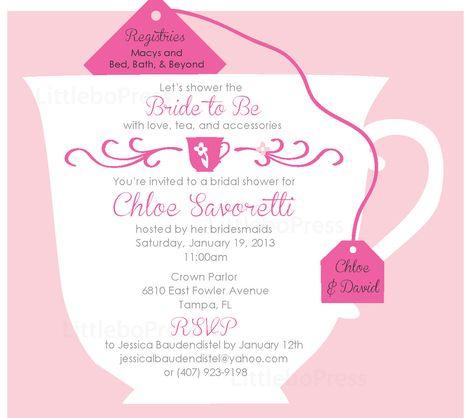 Custom bridal tea party invitations.