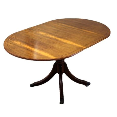 Reproduction Antique Style Yew Wood Drop Leaf Extending Dining