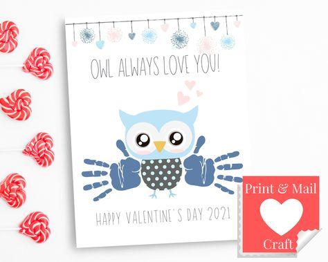 Owl Valentine Card, DIY Baby Handprint Art Craft, My First Valentines Day Boy, Blue Print Craft