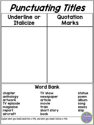 Punctuating Titles An Anchor Chart And A Freebie Teaching 6th Grade Teaching Writing Quotation Marks Punctuating titles worksheet 5th grade