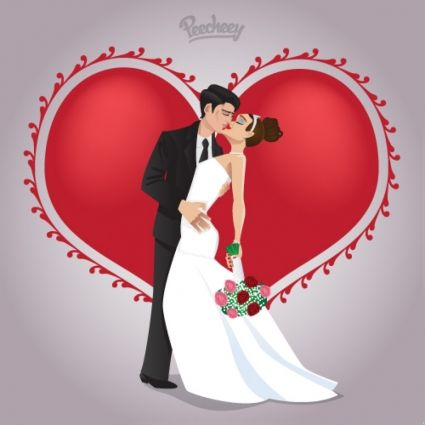 Wedding Couple In Love Free Vector In Adobe Illustrator Ai Ai Format Format For Free Download 6 Wedding Couples Wedding Images Wedding Anniversary Photos