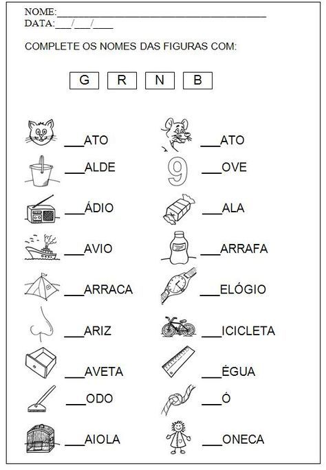 Atividades De Alfabetizacao Completar As Palavras Formar
