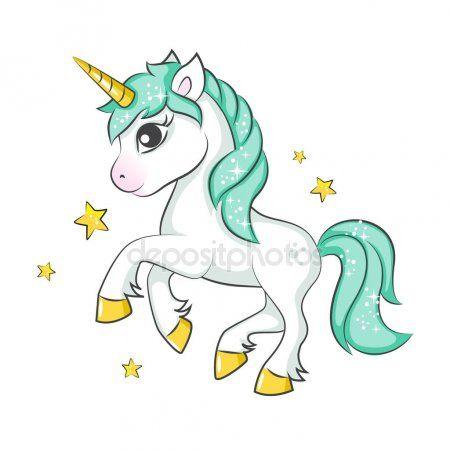 Unicorno Magico Carino Disegno Vettoriale Isolato Sfondo Bianco