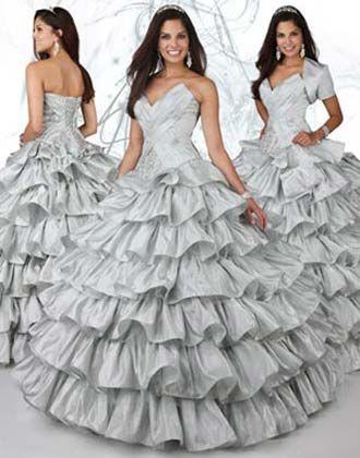 Vestidos Para Xv Años En Color Plata Con Blanco Strapless