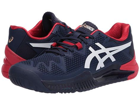 Asics Gel Resolution 8 Men S Tennis Shoes Peacoat White In 2020 Asics Shoe Size Conversion Shoe Size Chart