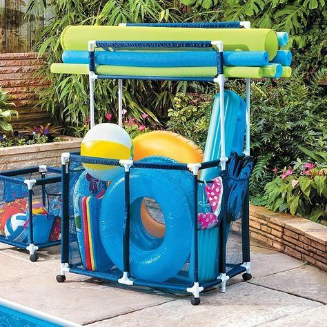 Xl Large Pool Storage Bin Noodle Holder Rolling Swimming Float Toys Mesh Cart S Ebay Pool Toy Storage Pool Storage Pool Float Storage