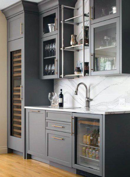 Grey Painted Cabinets Large Wet Bar Ideas With Marble Backsplash Home Wet Bar Home Bar Designs Kitchen Wet Bar