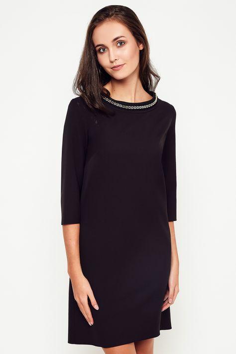 9b8a919768 Elegancka sukienka XXL MAJA czarna 40-50 PLUS SIZE na stójce - XELKA odzież  damska
