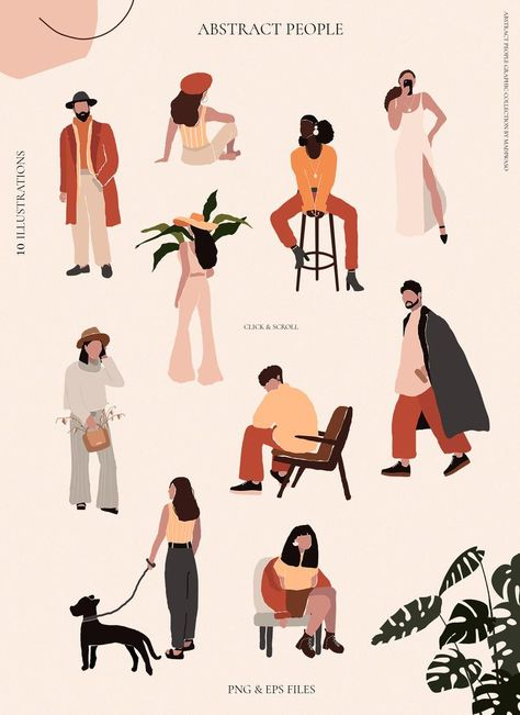 Abstract People women men - Abstract poster print collection - Minimal wall art print - Abstract portrait clipart digital PNG vector EPS
