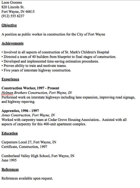 Public Worker Resume Example - http\/\/resumesdesign\/public - sample resume construction worker