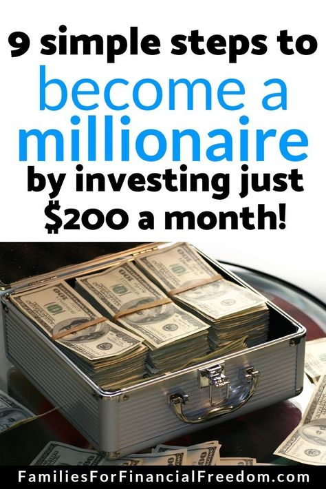 How to Become a Millionaire Investing Just $200 per Month These 9 simple steps will show you how to become a millionaire by investing just $200 a month. You can invest just $200 a month to become a millionaire!