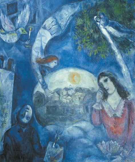 """""""Intorno a lei"""" è un'opera del 1947 esposta all'Opéra di Parigi. L'opera vede uno Chagall ormai maturo, attraversato da mezzo secolo di guerre e tensioni sociali, cimentarsi, dalla sua nuova patria, l'America, con una dedica alla persona più importante della sua vita, la sua musa ispiratrice, la moglie Bella."""