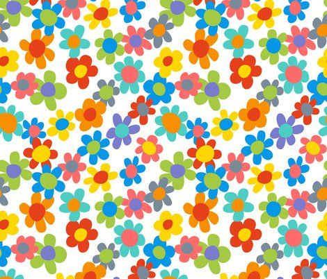Rainbow Flower Fabric - Girl Power - Flower Power By Vo_Aka_Virginiao - Kids Floral Flower Cotton Fabric By The Yard With Spoonflower Collage Poster, Collage Mural, Bedroom Wall Collage, Photo Wall Collage, Picture Wall, Poster Wall, Picture Collages, Poster Prints, Cute Patterns Wallpaper