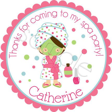 Spa Party.  Personalized stickers by partyINK.