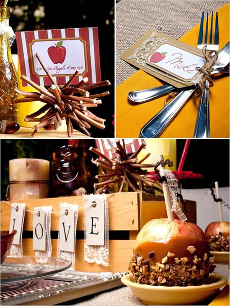 """Fall Wedding Ideas. Chris Nease of Celebrations At Home Events!  A sign reading, """"you're the APPLE of my eye"""",  a small """"LOVE"""" banner made with hang tags and lace, and  matching place cards which tie up the utensils. Make 'place mats' out of frames:  remove the glass insert and wrap fabric around the cardboard backing."""