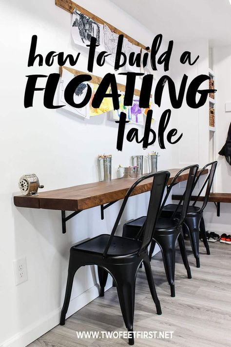 How to build a floating desk Are you wanted to build a wall mounted desk? Here is a DIY tutorial on how to build a floating desk plus the process is easy! Floating Table, Floating Wall Desk, This Old House, Wall Mounted Desk, Desk On Wall, Wall Table Diy, Wall Mounted Kitchen Table, Bar On Wall, Wall Bar Shelf