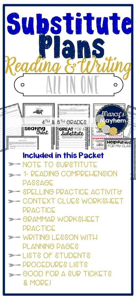 Sub Plans for 4th and 5th grade Reading and Writing ...