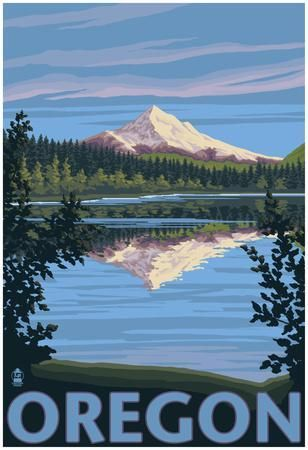 Mt Hood From Lost Lake Oregon Photo Allposters Com In 2021 Retro Travel Poster Travel Posters Vintage Travel Posters