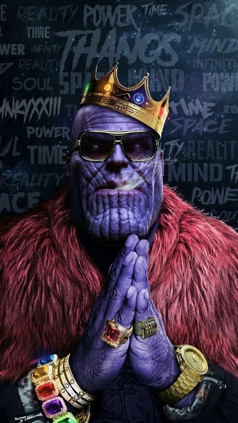 Avengers-Thanos-Hip-hop-Crown-Gold-Chains-Rings-Infinity-Stones-iPhone-Wallpaper - IPhone Wallpapers