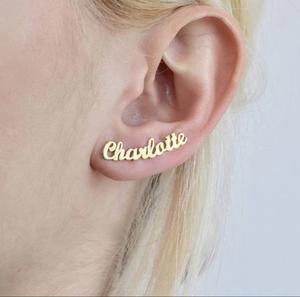 Custom Name Earring Crawlers Name Earrings Custom Earrings Personalized Earring