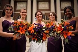 Eggplant And Burnt Orange for a beautiful fall wedding.. maybe ...