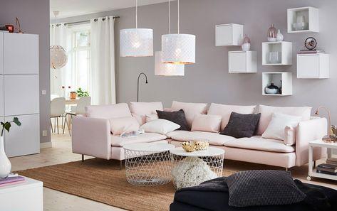 Canape Rose Cocoon Ikea Deco Salon Canape Angle Deco