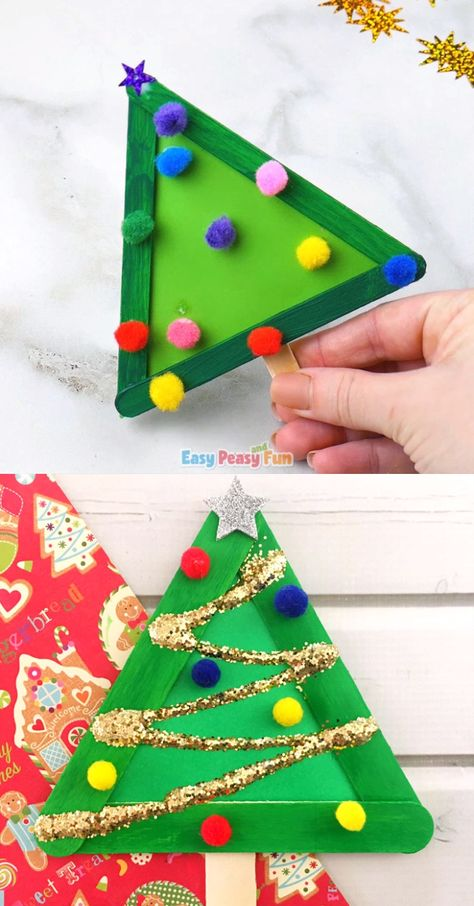 Who is ready for Christmas crafting with kids? We are! This wonderful Christmas tree from craft sticks crafty activity that's great for preschoolers and kids in kindergarten.