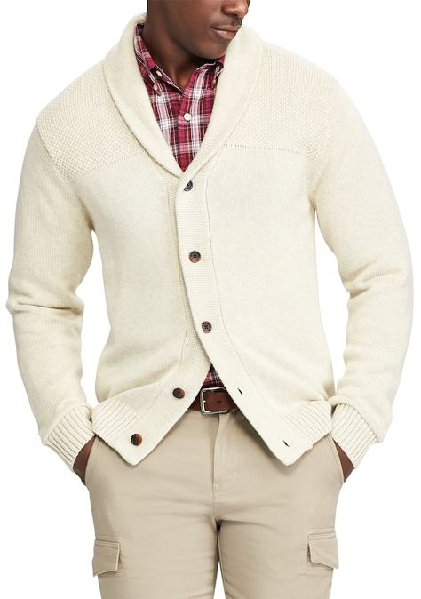 f221c90ed Men s Chaps Classic-Fit Textured Shawl-Collar Cardigan Sweater ...