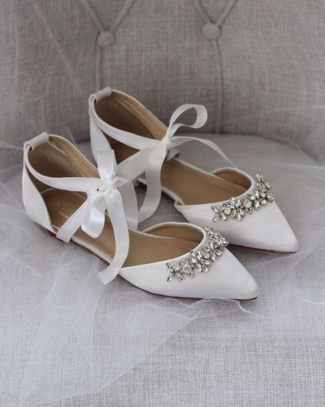 08bc75153a851 WHITE SATIN Pointy Toe Flats with Rhinestones Embellishments